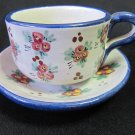 Vintage F.C.A. Peru Handpainted Blue Rim Dk Pink Floral Cup and Saucer