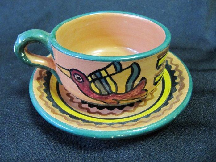 Vintage F.C.A. Peru Handpainted Inca Design Green Rim Cup and Saucer
