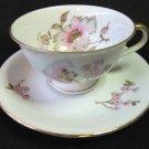 Vintage HMS ROYAL HANOVER Celeste Demitasse Cup & Saucer White Pink Floral Gilt MINT