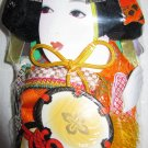 Vintage Japanese Geisha Flower Drum Paddle Stick Doll In Orig Box