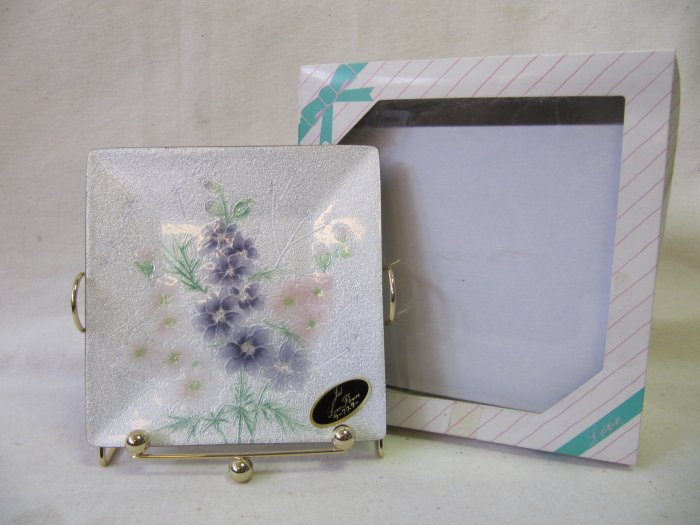 Vintage 70s MEITETSU Japanese Love Flower Square Plate w Display Rack and Beaded Wire Spoon with Box