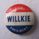 Vintage 1940 WILLKIE FOR PRESIDENT Pinback Campaign Button .875 In Offset Gravure Backpaper
