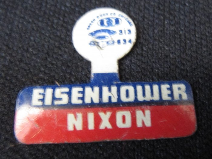 Vintage EISENHOWER NIXON Campaign Tab Pin Metal Unbent Green Duck Co.