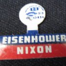 Vintage EISENHOWER NIXON Campaign Tab Pin Metal Unbent Green Duck Co.