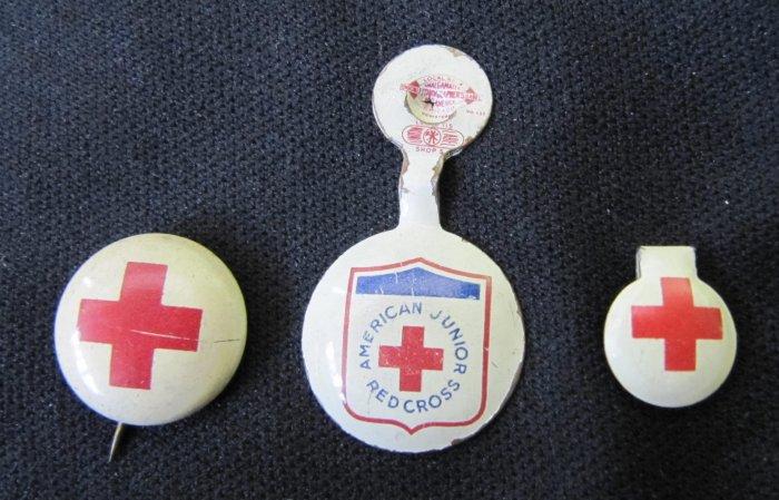 Vintage Lot 3 Small Red Cross American Junior Metal Tab Pins