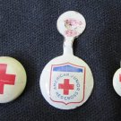 Vintage Lot 3 Small Red Cross American Junior Metal Tab Pins