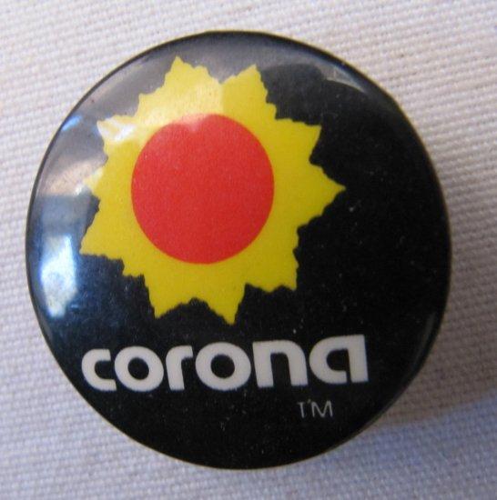 Vintage CORONA Button 1.25 In Black Red Sun Yellow Corona