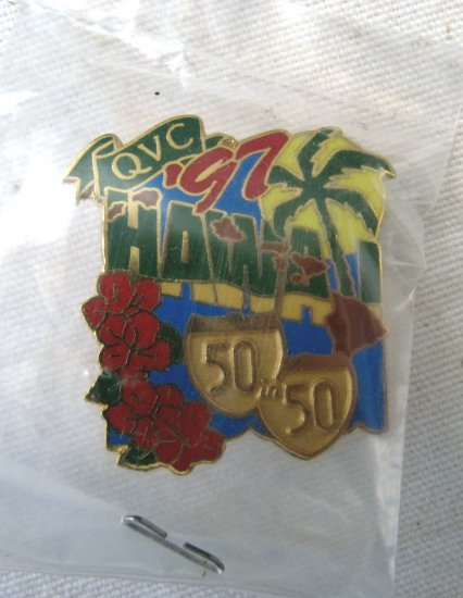 1997 QVC 50 in 50 Trade Show Tour HAWAII Pin Colorful Enamel 1.25 In Brass MINT