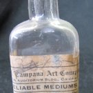 Antique 1920s Clear Glass CAMPANA ART English Grounding Oil Bottle w Cork Stopper & Label 3.5 In