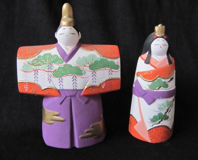 Vintage Japanese Handpainted Ceramic Man Woman Couple Figurines with Artist Mark