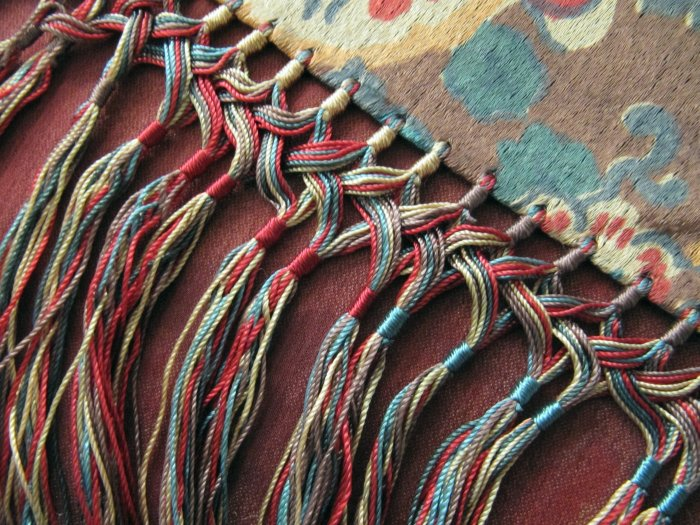 Antique Victorian Late 1800s Large Silk Shawl Wrap Fringed 3 x 7 Ft Multicolor Fruit Harvest Design