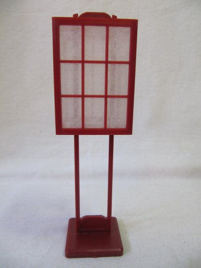 Small Japanese Paper Lantern Accent Stand White Paper Red Plastic 7.5 In