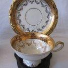 Vintage ALKA Bavaria Marion Demitasse Cup & Saucer White Gold Gilt Garland Trim MINT