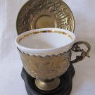 Vintage Brass Repousse Cup Holder & Saucer with China Cup Inset Middle Eastern Style Marked
