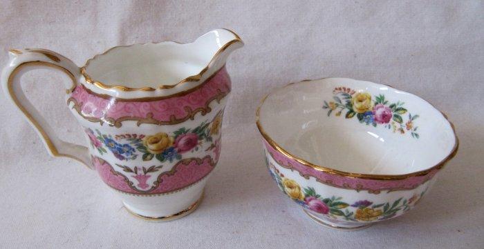 Vintage CROWN STAFFORDSHIRE Creamer & Sugar Bowl Set Bone China Pink Colorful Floral Gilt MINT