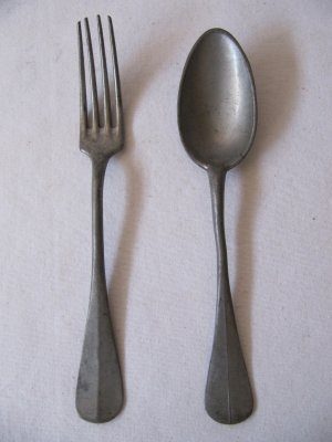Antique Pewter Fork and Spoon 8.25 In Full Name Moranne Leon Incassable with Touchmark