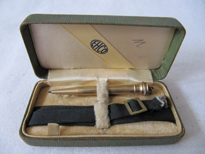 Antique c 1870s EHCO 14k Gold Filled Dance Pencil with Case and Ribbon