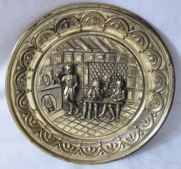 Vintage Brass 10 In Repousse Hanging Plate Tavern Scene England c 1940s