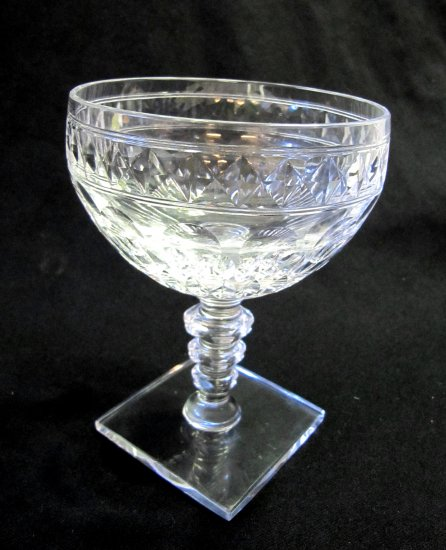 HAWKES Crystal Champagne Sherbet Glass Square Base Clear Notched Stem 4.75 In CS3-6
