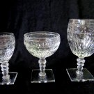 Set of HAWKES Crystal Square Base Glasses Water Goblet, Champagne Sherbet, Cordial Wine