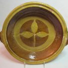 Vintage Mexico Heavy Ceramic Pottery Cooking Serving Bowl Brown Gold Leaf Design 11 x 2.5 Inches