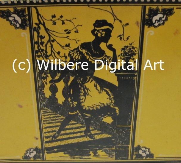 Digital Art JPG Photo Flapper Woman Silhouette on Vintage Yellow Tin