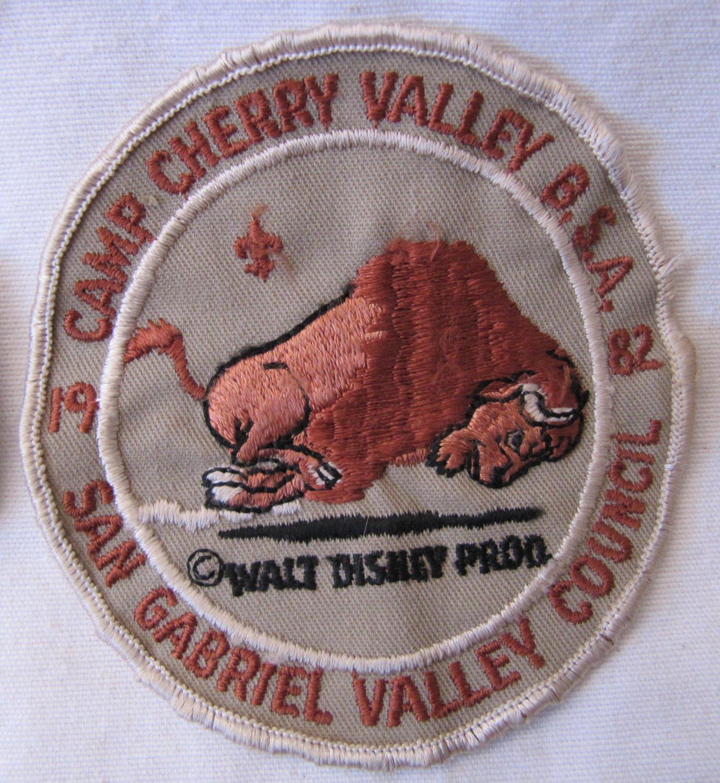 Vintage Boy Scout 1982 Patch Badge Camp Cherry Valley San Gabriel Valley Council Bison Disney 4 Inch