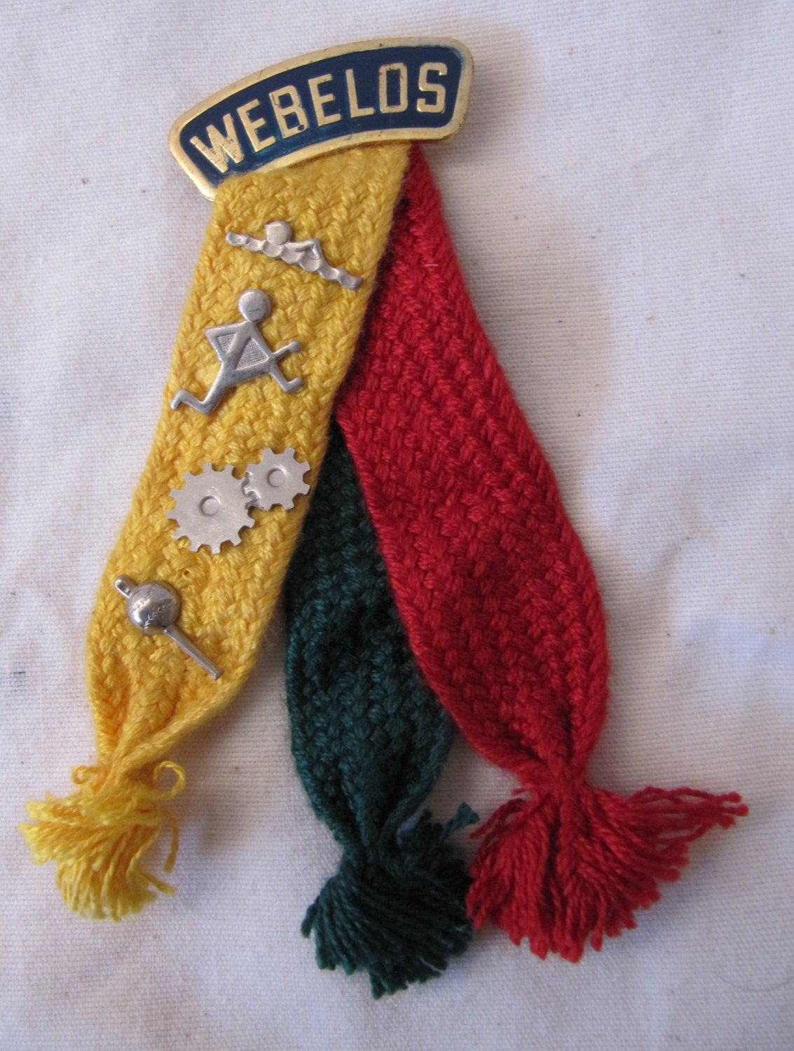Vintage Boy Scout Webelos Colors Pin with 4 Activity Pins Sportsman Engineer Athlete Aquanaut