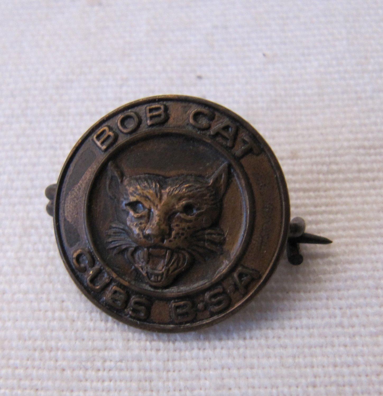 Vintage Boy Scout Bob Cat Bobcat CUBS B.S.A. Pin Early c. 1938-48 11/16 Inch
