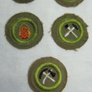 Lot of 5 Vintage Boy Scout Merit Badges Crimped Type C Type D c. 1936 - 1946