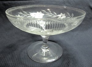 Vintage Etched Floral Pattern Clear Glass Compote Bowl with Stemmed Base 8 x 5 In