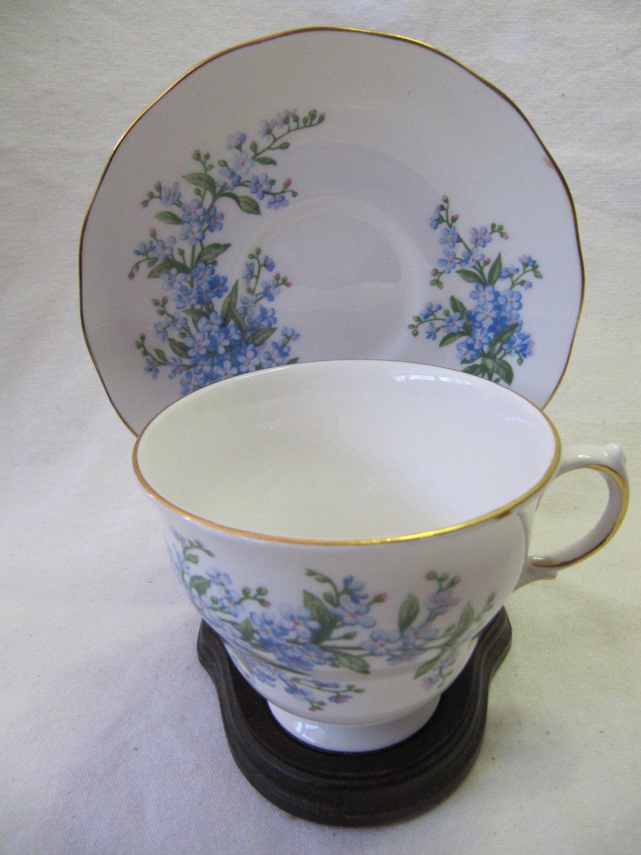 Vintage ROYAL KENT Staffordshire Cup & Saucer Bone China White w Blue Floral Gilt Patt 7527
