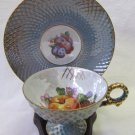 Vintage Japan Nippon Yoko Boeki Lusterware Cup & Saucer Aqua Fruit Design Gilt Clover Wreath Mark
