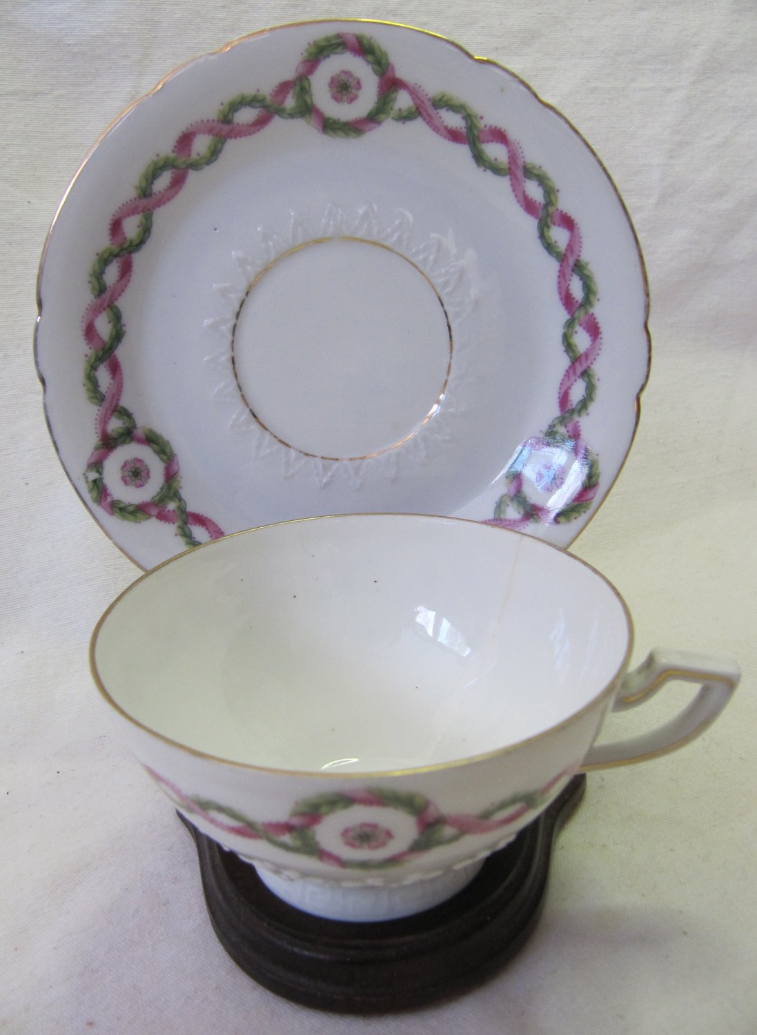 Vintage Weimar Germany Cup and Saucer White Christmas Holly Garland Red Ribbon Design Gilt