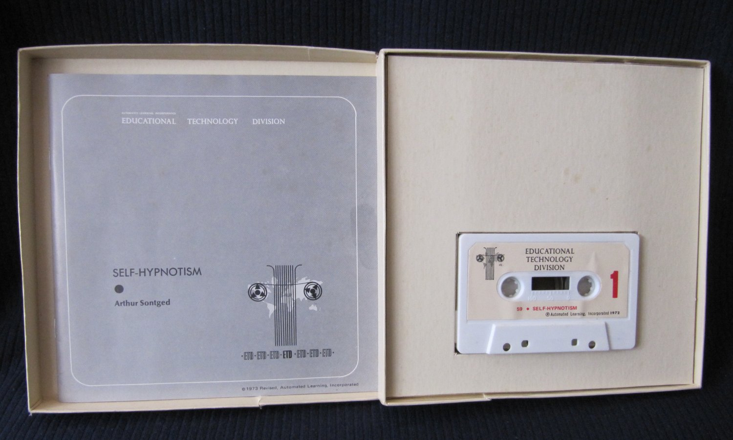 Self-Hypnotism Audio Cassette Tape and 18-page Manual in Box by Arthur Sontged 1972