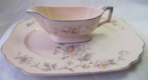 Vintage Limoges Amer Silver Moon Sebring Royal Beige Ware Gravy Boat & Platter Pink Floral Platinum