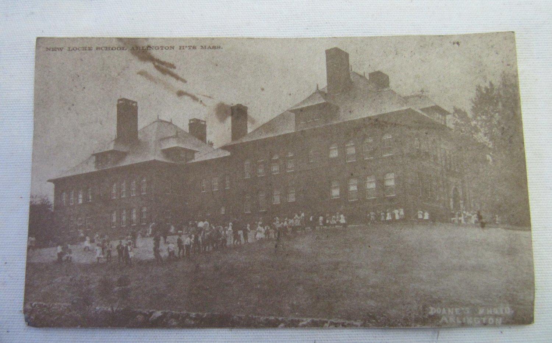 Vintage Postcard with Repro Antique Photo Locke School 1910 Arlington, MA Robert K. Garrity Realtors