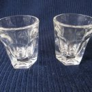 Set of Two Shot Glasses Clear Glass Six Panel Sides 2 In Tall