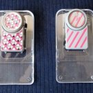 Lot of 2 Vintage LE CLIP Swiss Quartz Watches Gray Pink White Design 1980s in Orig Cases Boxes