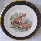 LENOX Ltd Issue Woodland Wildlife Boehm Red Foxes Plate 1974 24k Gold Trim