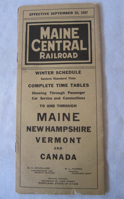 Vintage 1927 Railroad Train Schedule Time Table Maine Central Railroad