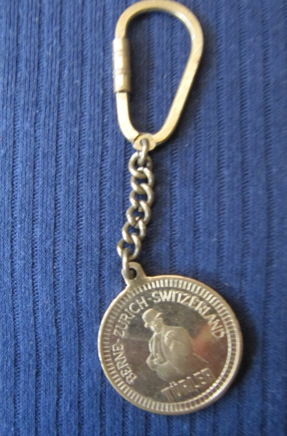 Vintage Turler Swiss Jewelry Advertisement Metal Coin Token on Key Fob Chain 1.5 Inch