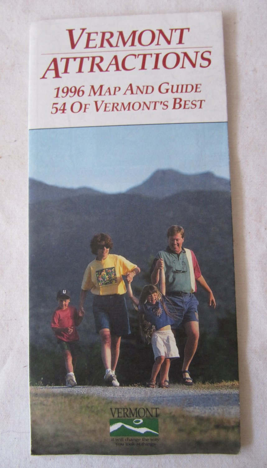 Vintage 1996 Vermont Attractions Road Highway Map and Guide