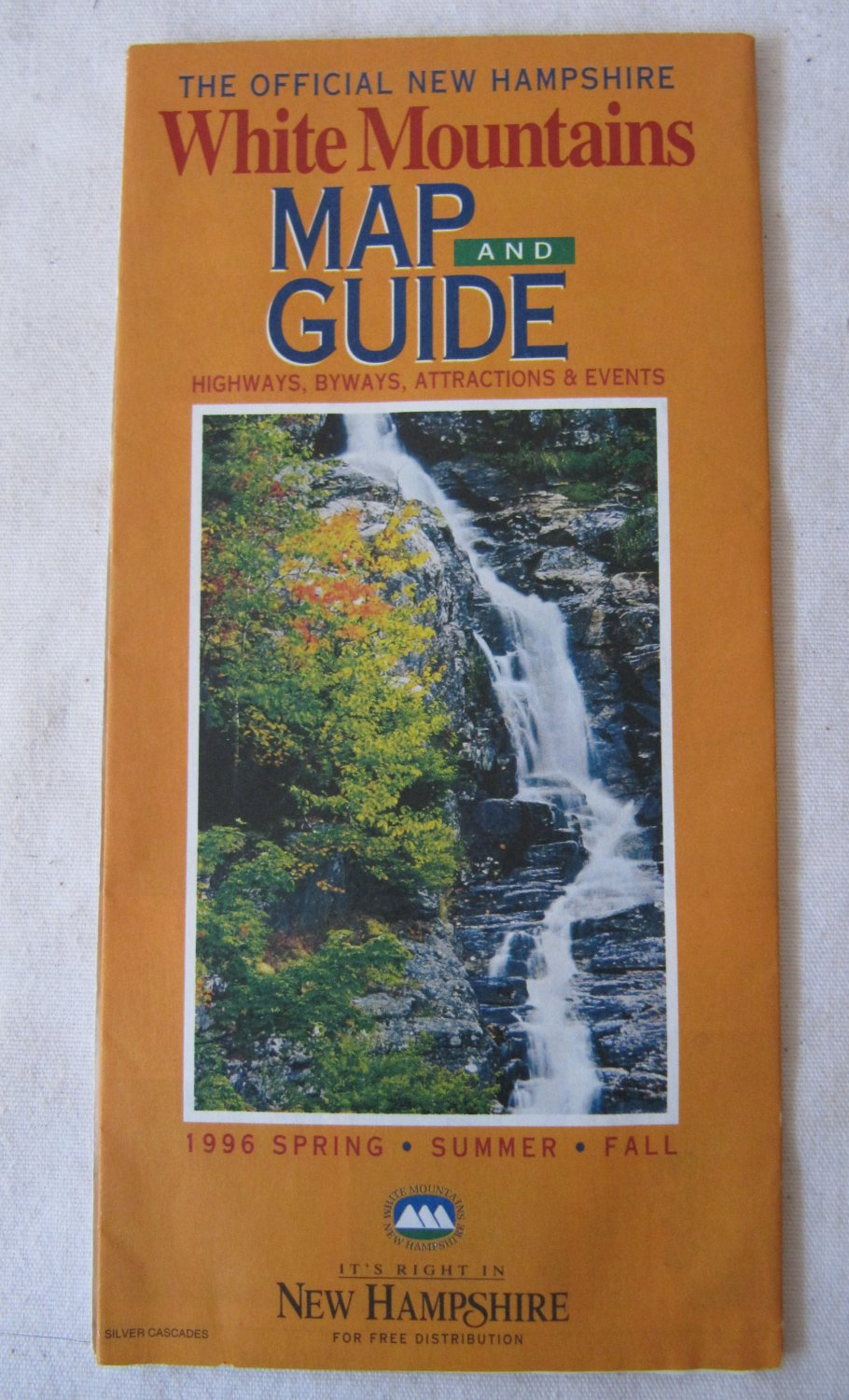 Vintage 1996 Official New Hampshire White Mountains Road Highway Map and Guide