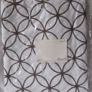 DWELL King Flat Sheet Rings Chocolate Brown White Egyptian Cotton 210 Thread Count Percale New