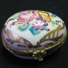 Vintage Handpainted Limoges D.T. Decor Main Egg Shaped Lidded Trinket Box Gilt Pink Floral