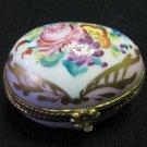 Vintage Handpainted Limoges D.T. Decor Main Egg Shaped Lidded Trinket Box Gilt Pink Floral