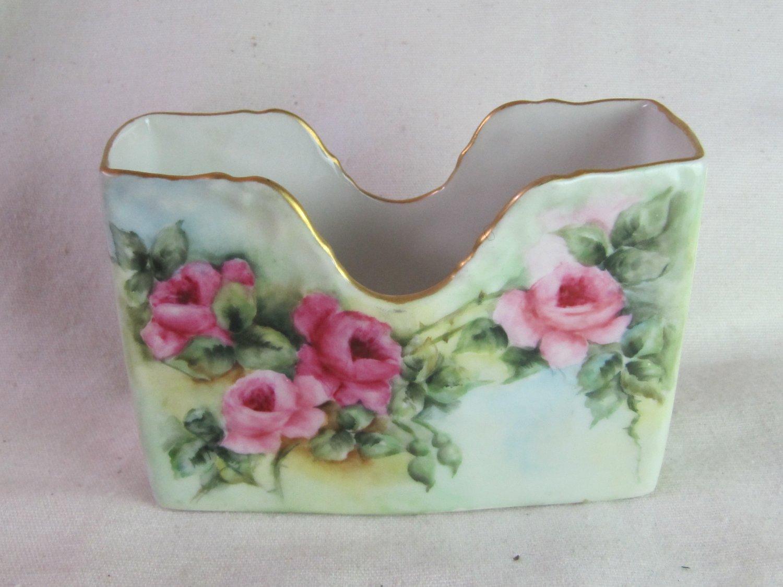 Antique LIMOGES France T&V Tressemanes Hand Painted Porcelain Note Holder Green Pink Roses Signed