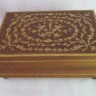 Vintage Premlex Jewelry Music Box Inlaid Wood Burl Detail It's Now or Never Switzerland 5.5x4x2 In