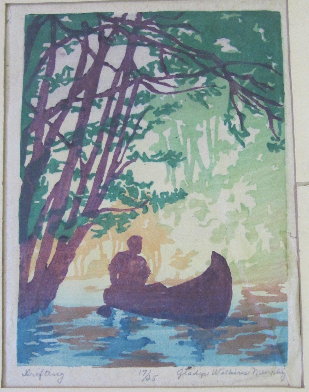 Rare Gladys Wilkins Murphy Art Signed Ltd Ed Color Woodcut Print Drifting 17/25 c 1920s 8x6 In